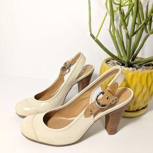 VTG Gianni Bini Patent Ivory Slingback Heels